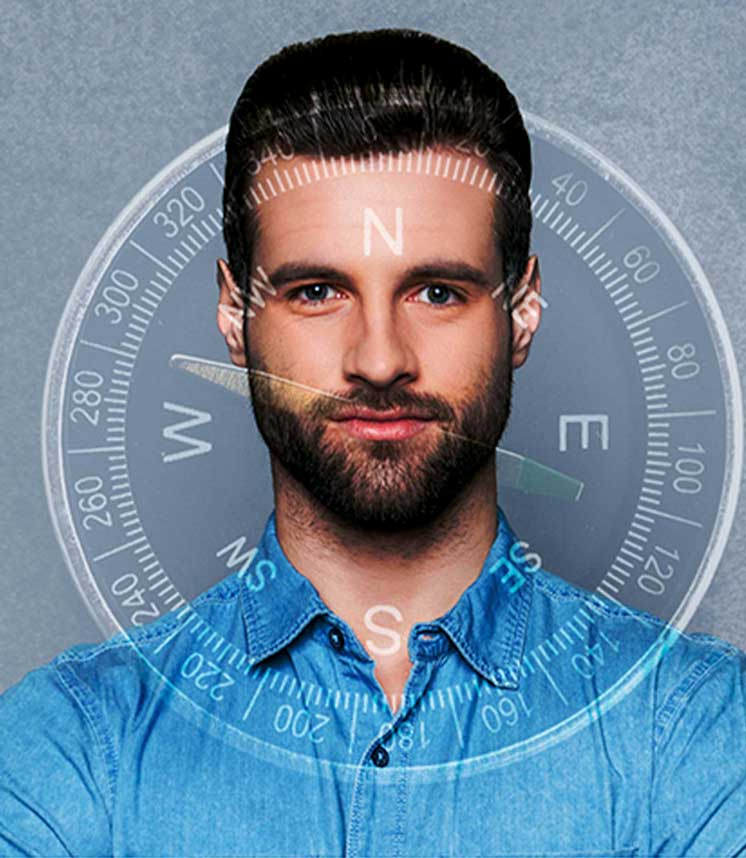 man compass image